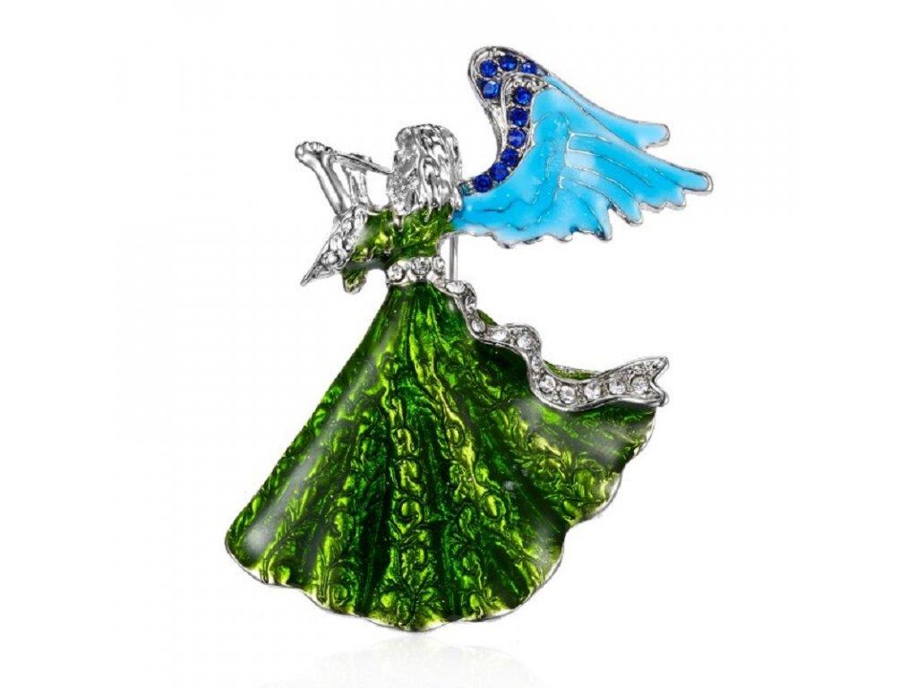 anděl s trubkou zelený 2