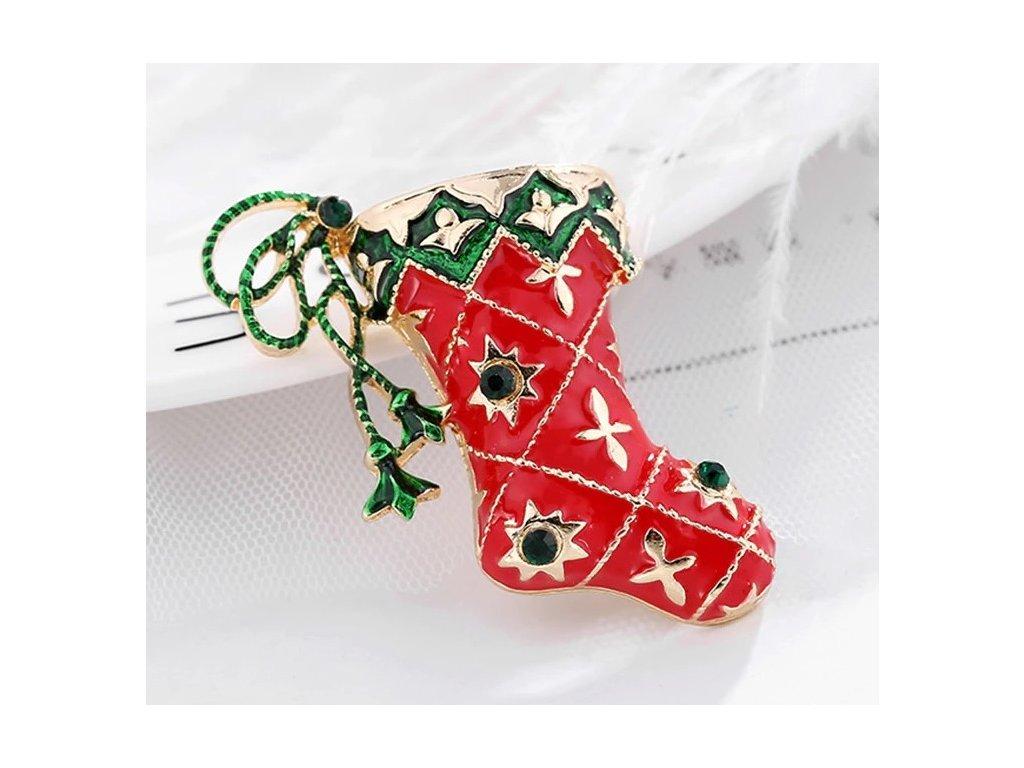 vánoční punčocha červená 2