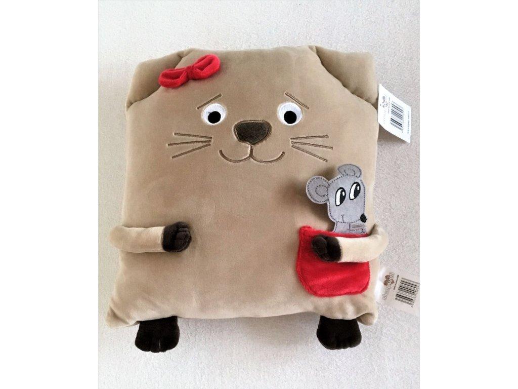 polštářek kočka béžový malý
