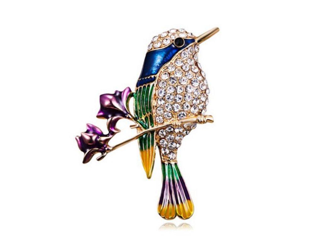 ptáček s květinami