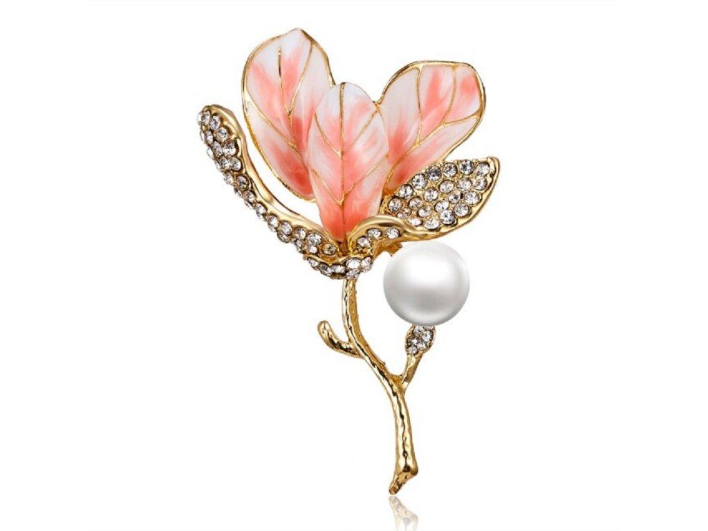 květ oranžový s perlou