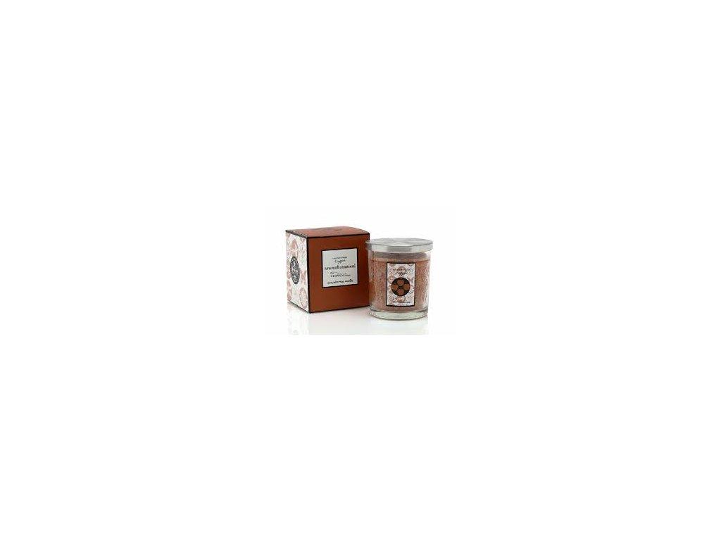 """Vonná svíčka """"AROMABOTANICAL"""" z eco palmového vosku ve skle 7,5 x 7,5 cm - Skořice a Jablko"""