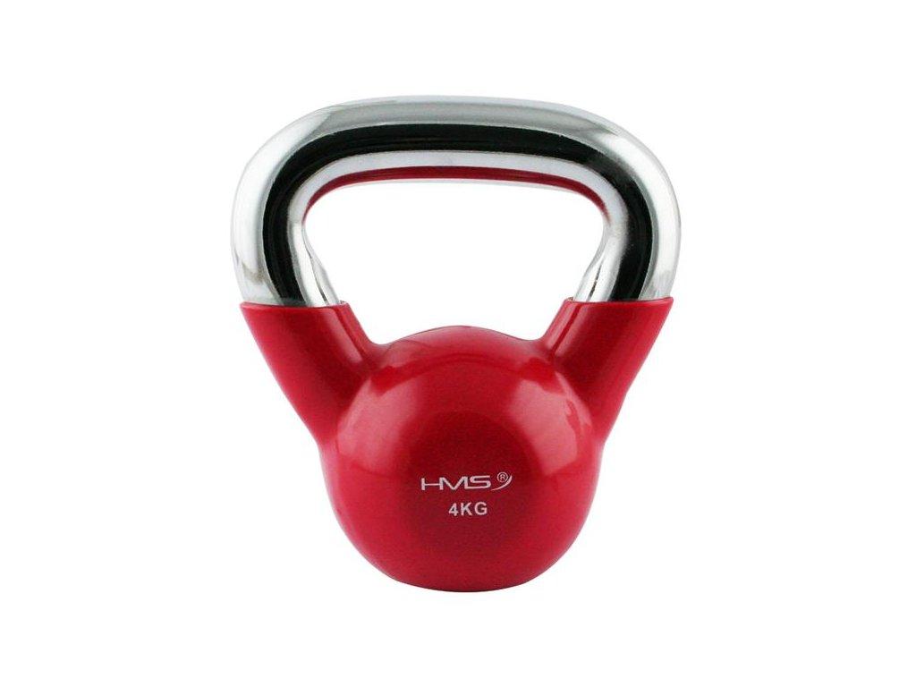 12153 1 kt 4 kg cerveny kettlebell s chromovanym uchopem hms