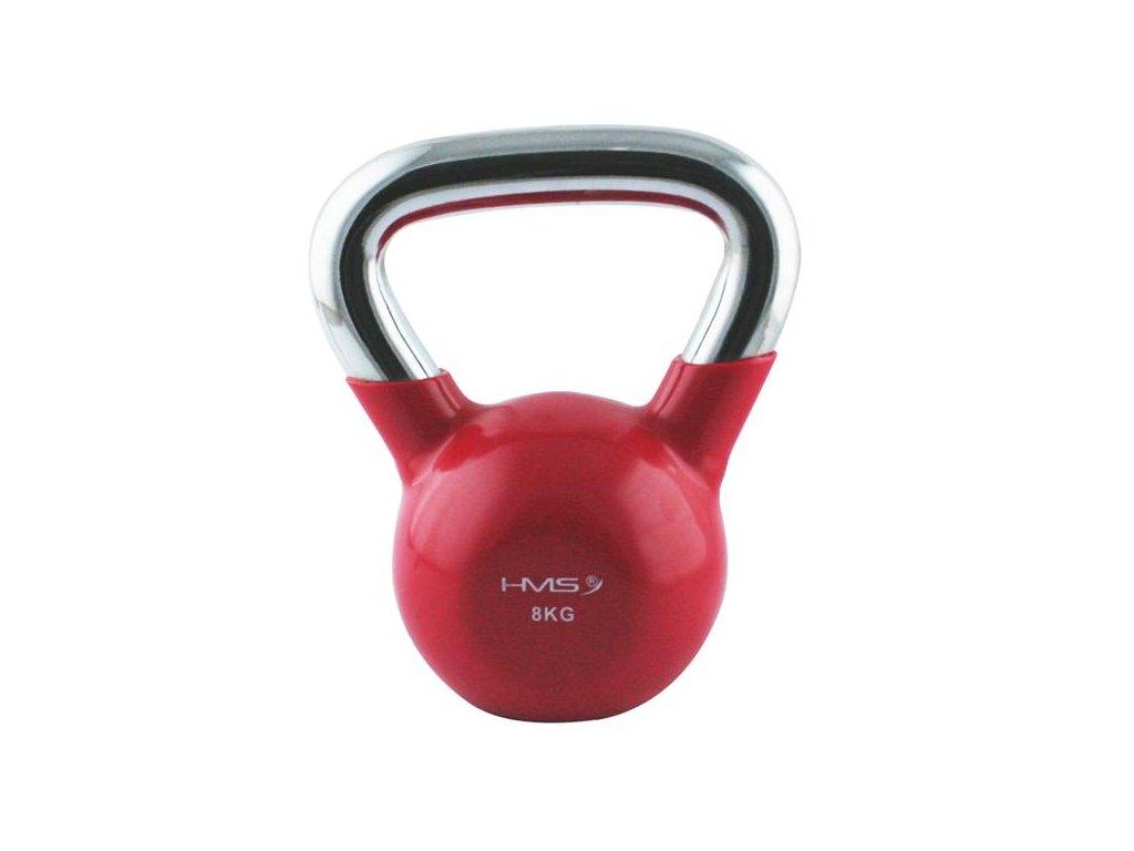 12159 1 kt 8 kg cerveny kettlebell s chromovanym uchopem hms
