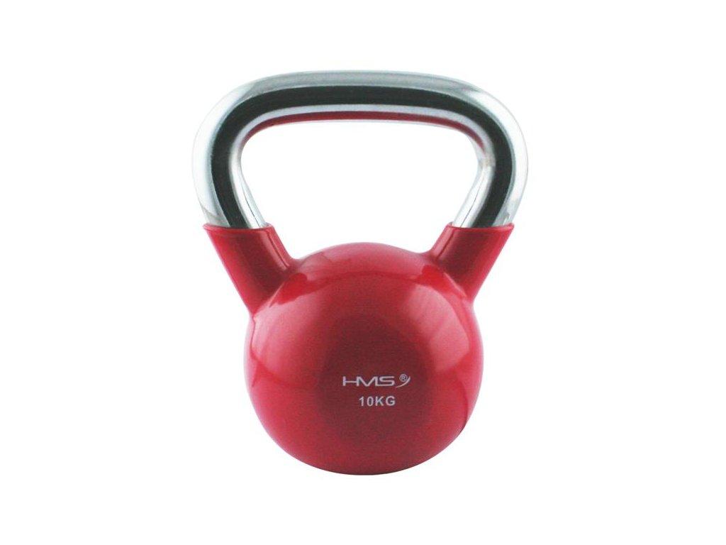 12162 1 kt 10 kg cerveny kettlebell s chromovanym uchopem hms