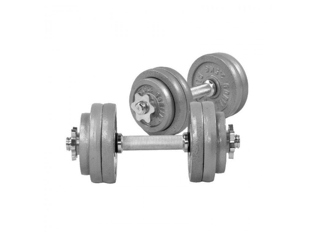 Litinové jednoručky 2 x 15 kg a 2 x 20 kg