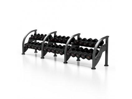 Sada černých činek se stojanem MARBO MF-S002 5-40 kg (15 párů)