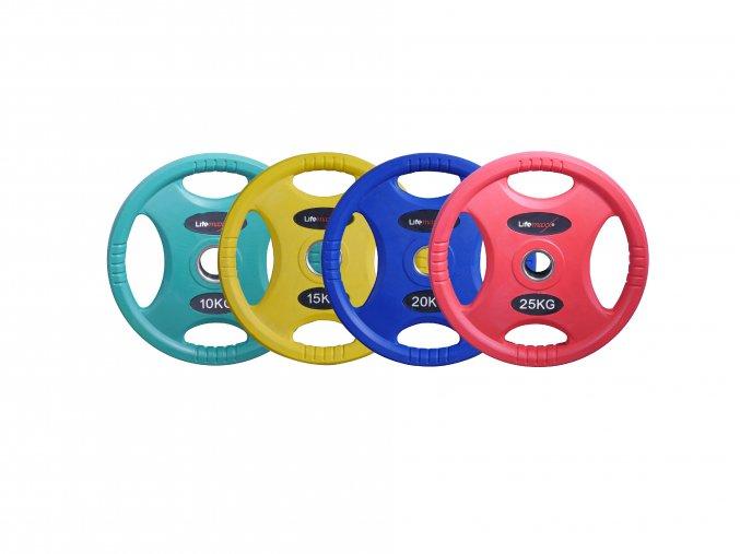 Olympijský pogumovaný kotouč barevný 50 mm, Crossmaxx (Váha 25 kg)