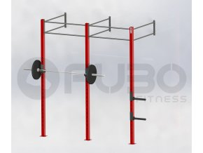 Dvojitá nástěnná posilovací klec - červená