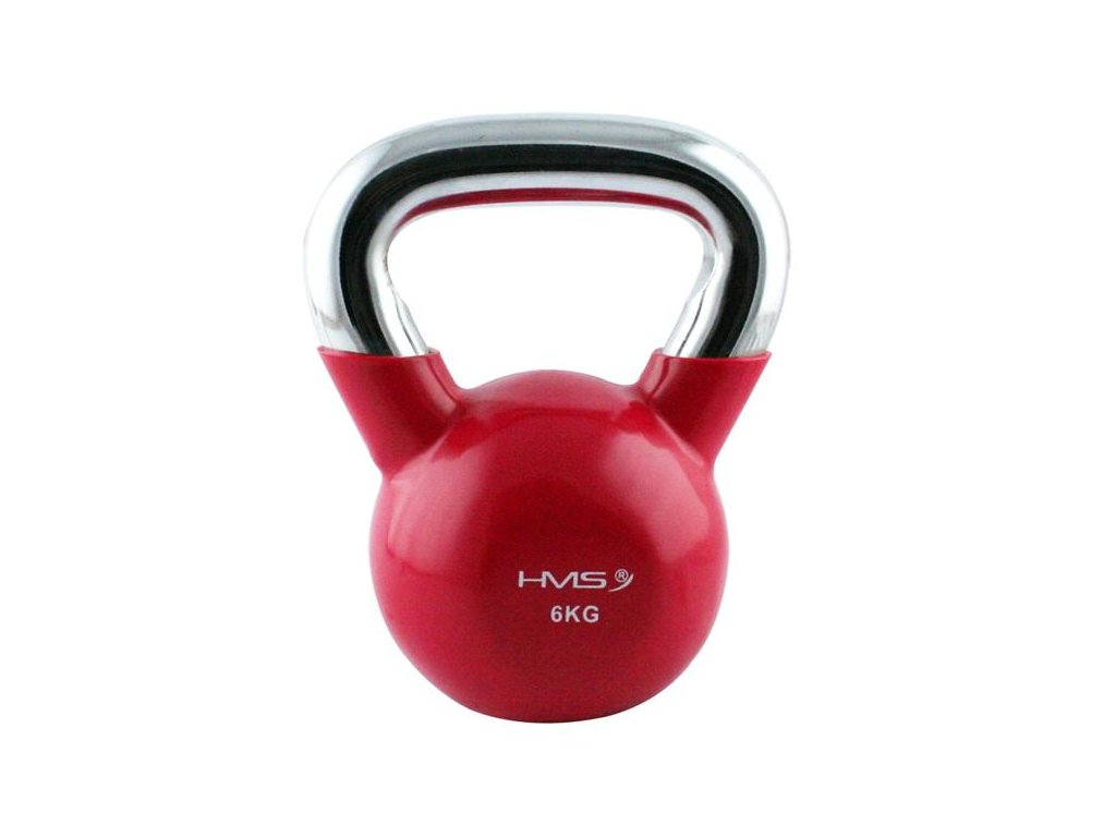 12156 1 kt 6 kg cerveny kettlebell s chromovanym uchopem hms