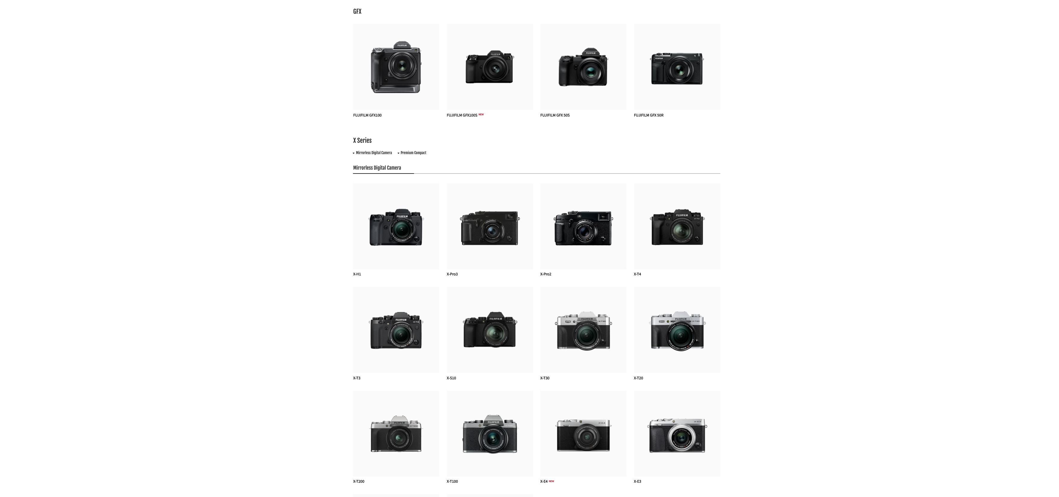 srovnání všech FUJIFILM fotoaparátů