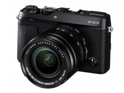 X E3 Black FrontObl+XF18 55mmF2.8 4
