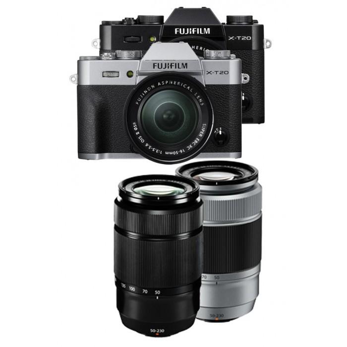 FUJIFILM X-T20 + 16-50mm f3,5-5,6 OIS + 50-230 f4.5-6.7 OIS II + dárkový set v hodnotě 4 000,- Kč Barva: černá