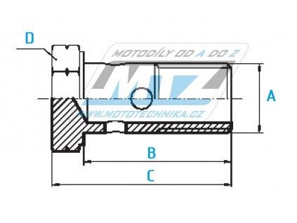 Šroub průtokový (šroub dutý) M8x1,0x17 ocelový