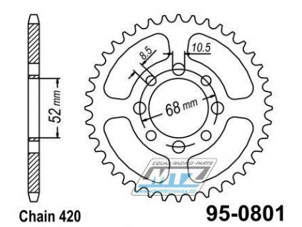 Rozeta ocelová (převodník) 0801-33zubů MTZ - Suzuki RM50+DR-Z110+TS50 + Kawasaki KLX110