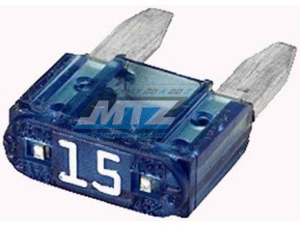 Pojistka nožová - 15A 12V (farba modrá) - prevedenie MINI