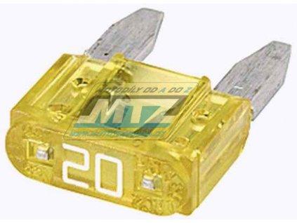 Pojistka nožová - 20A 12V (farba žltá) - prevedenie MINI