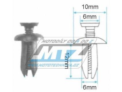Klip/Nýt kapoty (plastová příchytka kapoty) - rozmery 10x6x12x6mm