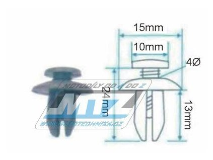 Klip/Nýt kapoty (plastová příchytka kapoty) - rozmery 15x10x24x13mm