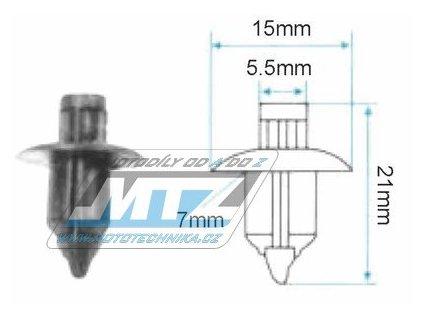 Klip/Nýt kapoty (plastová příchytka kapoty) - rozmery 15x5,5x7x21mm
