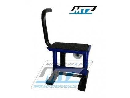 Stojánek MX (stojan pod motocykl) s kovovou deskou a potiskluzovou gumou pro dětské motocykly - modrý
