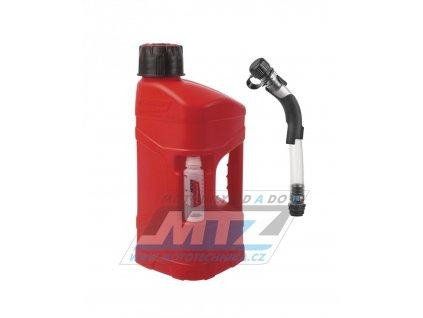 Kanister na benzín Polisport PROOctane 10L s míchací nádobkou (100ml) a plnící hadicí - červený