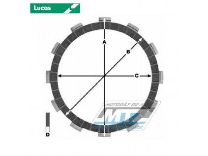 Lamely spojkové trecie (s obložením) Lucas MCC233-10 - Kawasaki VN1700 Classic+VN1700 Voyager+VN2000 Vulcan