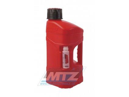 Kanister na benzín Polisport PROOctane 10L s míchací nádobkou (100ml) - červený