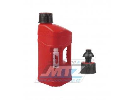 Kanister na benzín Polisport PROOctane 10L s míchací nádobkou (100ml) a rychlotankovacím uzávěrem - červený