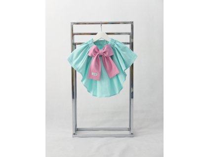 Sukňa s vlečkou mint/ružová