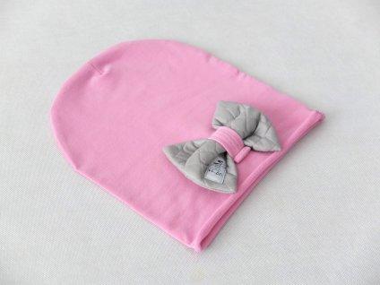 Pískacia šmolko čiapka s mašľou jogurtovo ružová/šušťák sivá