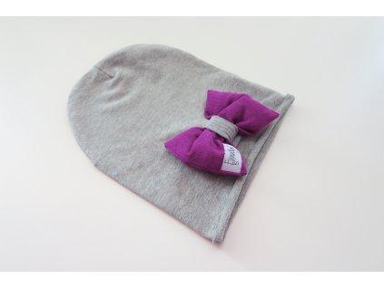 Pískacia šmolko čiapka s mašľou sivá/kord purpur