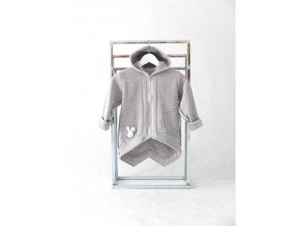 Pískací kabátik sivý melír