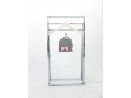 Pískacia bábo čiapka s mašľou sivá/baby ružová