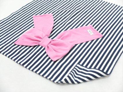 Pískacia bábo dečka s mašľou pásik modrá/ružová
