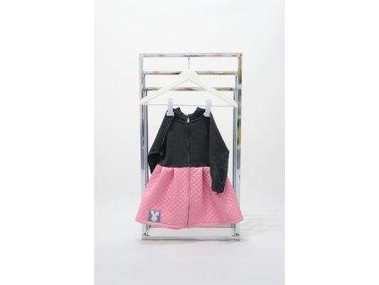 Pískací napufňaný kabátik tmavosivá/ružový šušťák