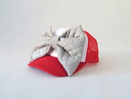 Šiltovka s mašľou - červená/sivá