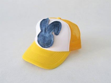 Šiltovka zajac - žltá/riflová