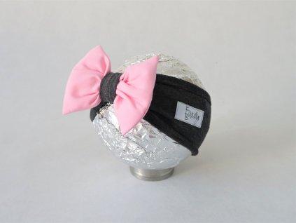 Pískacia čelenka tmavo sivá/baby ružová