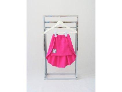 Úzka sukňa s vlečkou jasný cyklamén/čierny pásik
