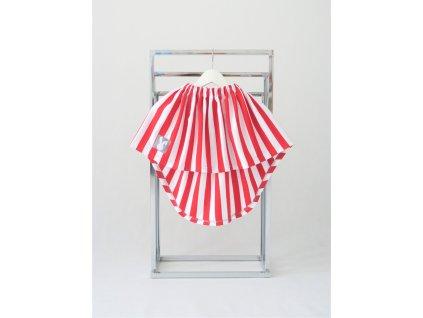 Vypínacia pískacia sukňa červený pásik