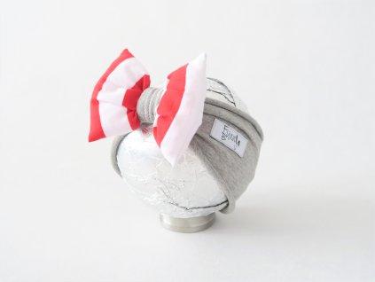 Pískacia čelenka sivá/červený pásik