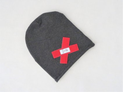 Pískacia šmolko čiapka tmavo-sivá s červeným softshell krížikom
