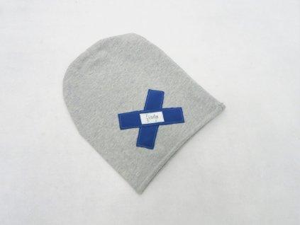 Pískacia šmolko čiapka sivá s modrým softshell krížikom