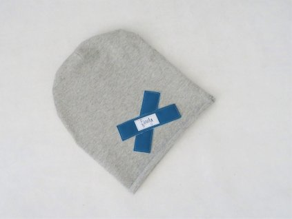 Pískacia šmolko čiapka sivá s petrolej softshell krížikom