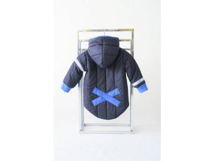 Prešívaná zimná bunda s krížikom modrá