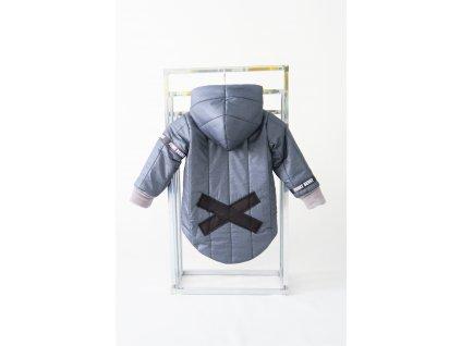 Prešívaná zimná bunda s krížikom jeans potlač