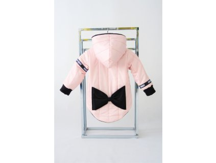 Prešívaná zimná bunda s mašľou jemná ružová
