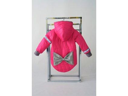 Prešívaná zimná bunda s mašľou žiarivá ružová