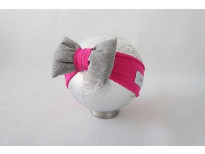 Pískacia bábo čelenka cyklamén/sivá